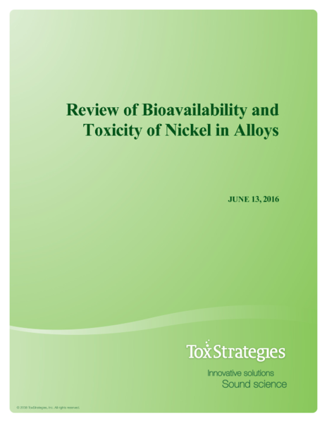Whitepaper -- Review of Bioavailability and Toxicity of Nickel in Alloys
