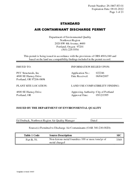 Standard Air Contaminant Discharge Permit
